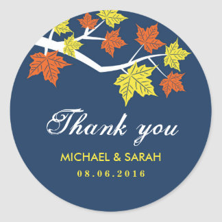 Navy Blue Maple Leaves Wedding Thank You Sticker