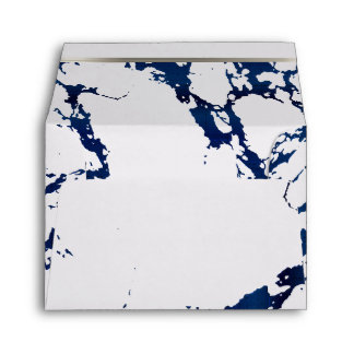 Navy Blue Marble, Silver and White Design Envelope