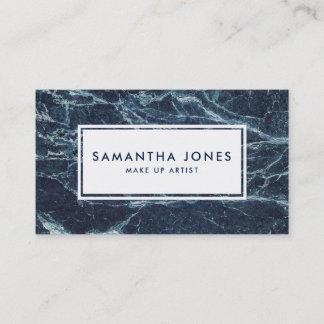 Navy Blue Marble Simple Modern Make Up Artist Business Card