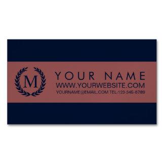 Navy Blue & Marsala Stripe Laurel Wreath Monogram Magnetic Business Cards (Pack Of 25)