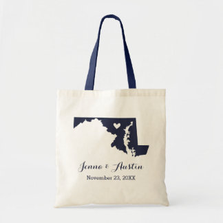 Navy Blue Maryland Wedding Welcome Tote Bag