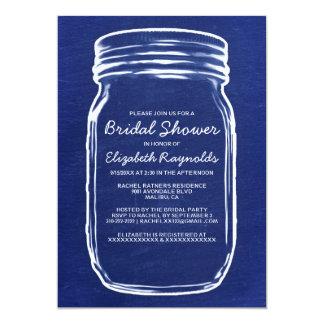 Navy Blue Mason Jar Bridal Shower Invitations