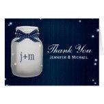 Navy Blue Mason Jar Fireflies Wedding Thank You Greeting Cards