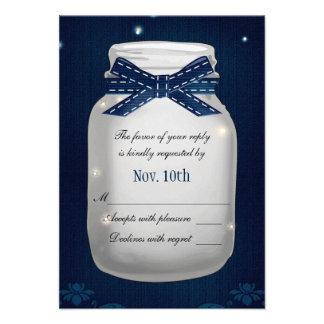 Navy Blue Mason Jar with Fireflies RSVP Card