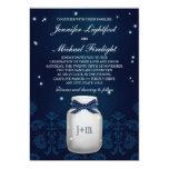 Navy Blue Mason Jar with Fireflies Wedding Card