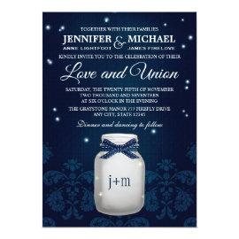 Navy Blue Mason Jar with Fireflies Wedding 5