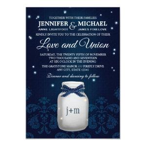 Navy Blue Mason Jar with Fireflies Wedding 5x7 Paper Invitation Card