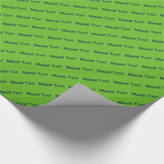 Navy Blue Mazel Tov! (Congratulations) on Green Wrapping Paper