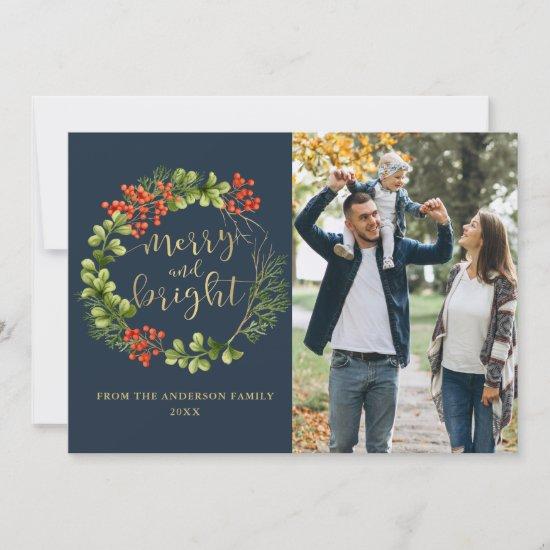 Navy Blue Merry Bright Greenery Holly Wreath Photo Holiday Card