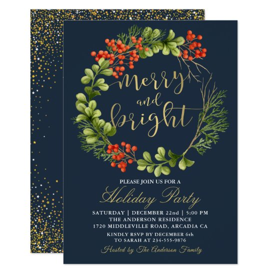 Navy Blue Merry Bright Holly Berries Holiday Party Invitation