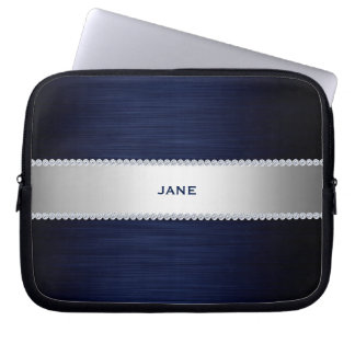 navy blue metal with diamonds and name computer sleeve