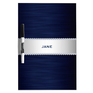 navy blue metal with diamonds and name Dry-Erase board