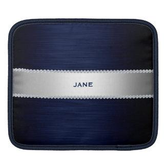 navy blue metal with diamonds and name iPad sleeve