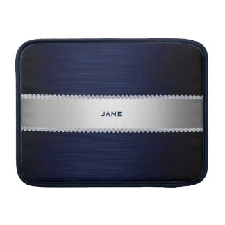navy blue metal with diamonds and name MacBook air sleeve
