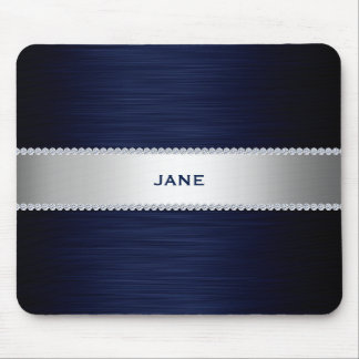 navy blue metal with diamonds and name mouse pad