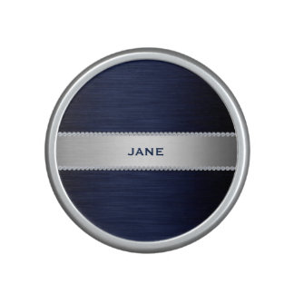navy blue metal with diamonds and text speaker