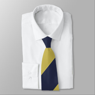 Navy Blue & Metallic Gold Broad Regimental Stripe Tie