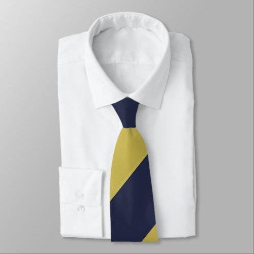 Navy Blue & Metallic Gold Broad Regimental Stripe Tie