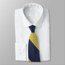 Navy Blue & Metallic Gold Broad University Stripe Tie