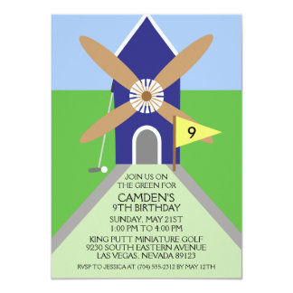 Navy Blue Miniature Golf Windmill Birthday Party Card