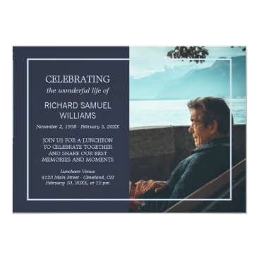 Beach Themed Navy Blue Minimal Celebrating Life | Custom Photo Card
