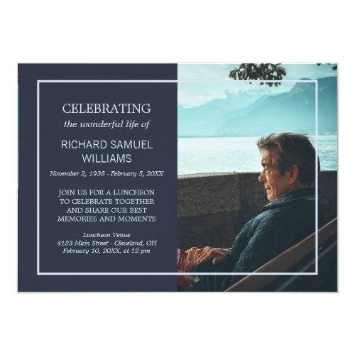 Navy Blue Minimal Celebrating Life  Custom Photo Invitation