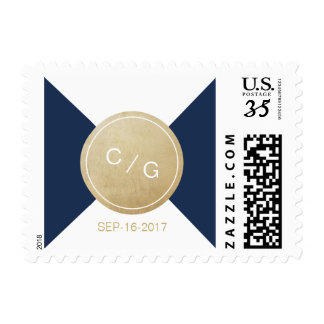 Navy blue minimalist modern wedding monogram postage
