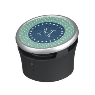 Navy Blue, Mint Green Chevron Pattern | Your Monog Bluetooth Speaker