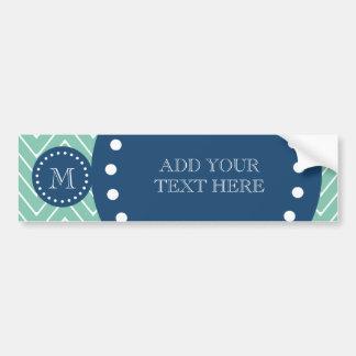 Navy Blue, Mint Green Chevron Pattern | Your Monog Bumper Sticker