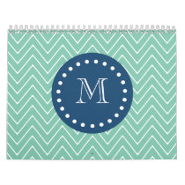 Navy Blue, Mint Green Chevron Pattern | Your Monog Calendar