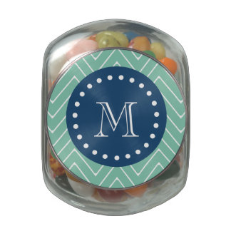Navy Blue, Mint Green Chevron Pattern | Your Monog Glass Candy Jars