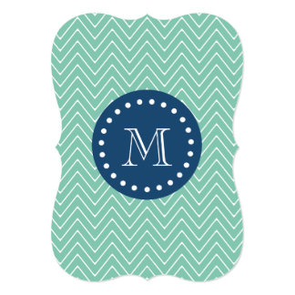 Navy Blue, Mint Green Chevron Pattern   Your Monog Card