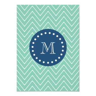 "Navy Blue, Mint Green Chevron Pattern | Your Monog 4.5"" X 6.25"" Invitation Card"