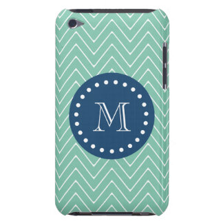 Navy Blue, Mint Green Chevron Pattern | Your Monog iPod Touch Case