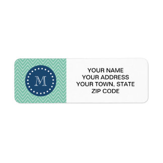 Navy Blue, Mint Green Chevron Pattern | Your Monog Return Address Label