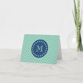 Navy Blue, Mint Green Chevron Pattern | Your Monog Note Card