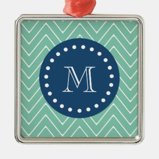Navy Blue, Mint Green Chevron Pattern | Your Monog Christmas Ornament