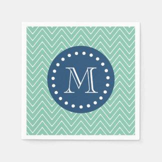 Navy Blue, Mint Green Chevron Pattern | Your Monog Paper Napkin
