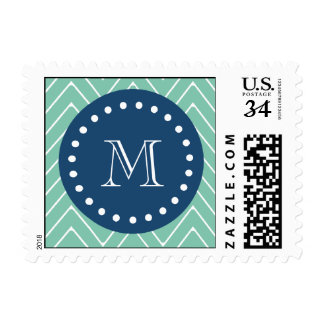 Navy Blue, Mint Green Chevron Pattern | Your Monog Postage Stamp