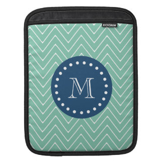 Navy Blue, Mint Green Chevron Pattern | Your Monog Sleeves For iPads