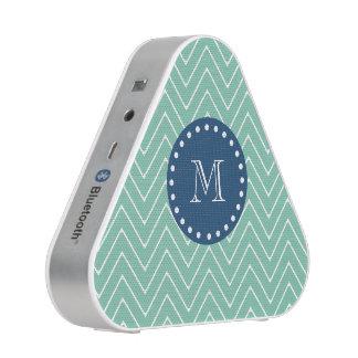 Navy Blue, Mint Green Chevron Pattern | Your Monog Speaker
