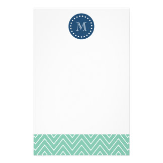 Navy Blue, Mint Green Chevron Pattern | Your Monog Stationery