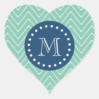 Navy Blue, Mint Green Chevron Pattern | Your Monog Heart Sticker