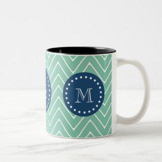 Navy Blue, Mint Green Chevron Pattern | Your Monog Two-Tone Coffee Mug