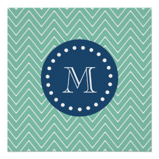 Navy Blue, Mint Green Chevron Pattern | Your Monog Perfect Poster
