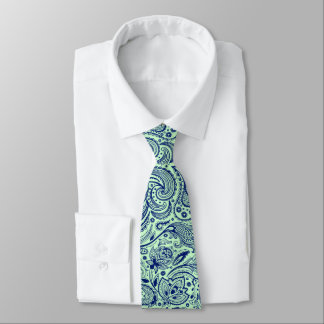 Navy Blue & Mint-Green Floral Paisley Pattern Necktie