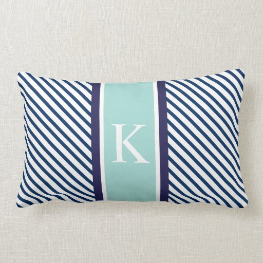 Navy Blue Mint Stripes Amp Monogram Lumbar Pillow Zazzle