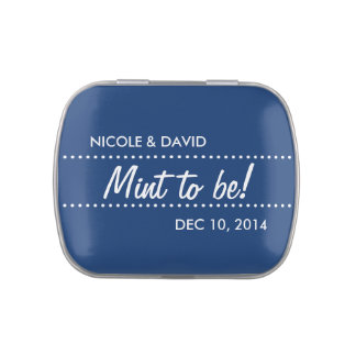 Navy blue mint to be wedding celebration favor jelly belly tins