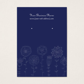 Navy Blue Mod Flowers Custom Earring Card