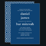 "Navy Blue Modern Bar Mitzvah II Invitation<br><div class=""desc"">This modern invitation features bold white lettering on the front and a modern pattern on the back.  Use the template form to add your custom text.  The Customize feature can be used to change the font,  layout and colors.</div>"